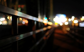 Picture macro, the city, lights, background, Wallpaper, blur, the fence, wallpaper, widescreen, background, macro, bokeh, full …