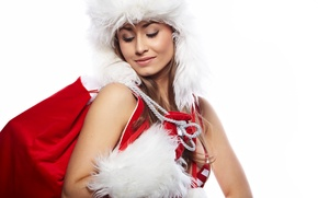Wallpaper white, eyes, girl, red, holiday, new year, makeup, fur, new year, bag, merry christmas, eyeliner, ...