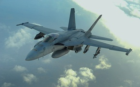 Picture The sky, The plane, Boeing, attack, Deck, Fighter-bomber, American, F/A-18 Super Hornet