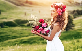 Wallpaper flowers, nature, hairstyle, beautiful, greens, girl, in white, field, dress, bouquet, brown hair, bokeh, makeup, ...