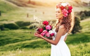 Wallpaper greens, field, grass, girl, landscape, flowers, bouquet, makeup, dress, hairstyle, brown hair, beautiful, in white, ...