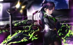 Wallpaper girl, weapons, magic, smoke, anime, art, Owari no Seraph, shigure yukimi