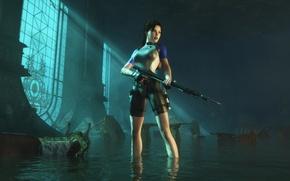 Picture girl, Tomb Raider, harpoon, Lara Croft
