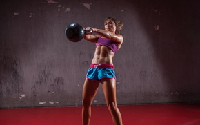 Picture crossfit, technique, athletic body, Russian dumbbell