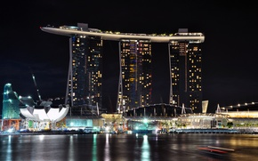 Picture sea, night, the city, lights, the hotel, Doc, Singapore