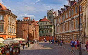 Wallpaper street, home, Poland, Warsaw, old town, Barbican