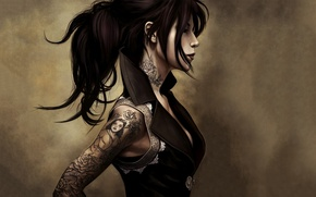 Picture tattoo, brunette, hairstyle, tight clothing