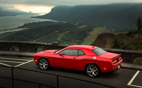 Picture Sunset, Road, Mountains, River, Forest, Dodge, Challenger, Landscape, Valley, Muscle Car, 2015
