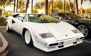 Picture white, black, Lamborghini, Aston Martin, supercar, white, supercar, black, aston martin, parking, Countach, Lamborghini, vantage …