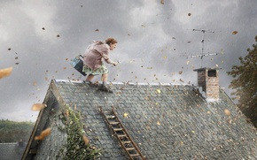 Picture roof, leaves, the wind, tool, grandma