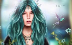 Picture girl, flowers, bird, hair, fantasy, Hummingbird, decoration