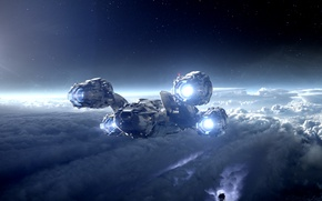 Wallpaper cold, the sky, freedom, space, clouds, light, night, space, white, planet, height, speed, satellite, black, ...