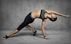 Picture woman, workout, stretching, yoga pose
