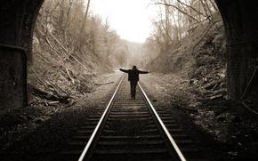 Picture girl, rails, The tunnel, train