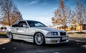Picture BMW, silver, BMW, silver, front, E36