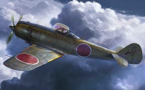 "Picture war, art, painting, aviation, ww2, Nakajima KI-84""Frank"""