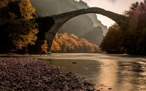 Picture autumn, forest, bridge, river