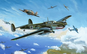 Picture war, art, painting, Hurricane, drawing, ww2, He 111, dogfight, bf 110, battle of britain, dover