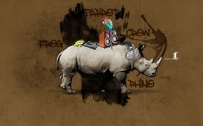 Wallpaper Graffiti, Rhino, design, crow, frog, parrot, rhino