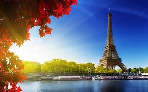 Wallpaper Hay, red, France, France, trees, Paris, La tour Eiffel, Eiffel tower, leaves, Paris, autumn, Eiffel ...