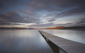 Picture forest, clouds, mountains, lake, reflection, mirror, pierce, wood, mountains, clouds, lake, reflection, pier, mirror