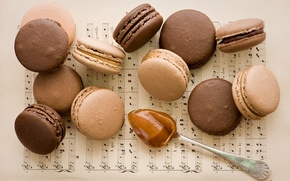 Wallpaper notes, cookies, spoon, notebook, dessert, chocolate, caramel, Anna Verdina, macaron, macaron