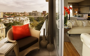 Wallpaper design, the city, style, interior, balcony, living room, city apartment