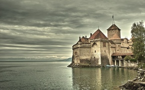 Picture castle, vintage, on the lake