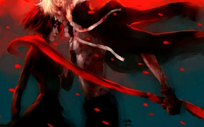 Picture girl, petals, scarf, guy, art, fuyumine naoto, nanfe, haine rammsteiner, dogs: bullets & carnage