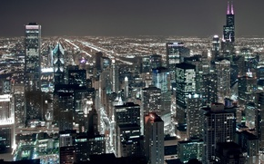 Picture night, city, lights, height, skyscrapers, USA, America, Chicago, Chicago, USA