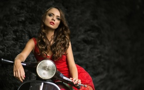 Picture girl, motorcycle, in red, Elisabeth