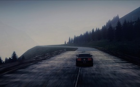 Picture road, machine, fog, speed, Ford Mustang
