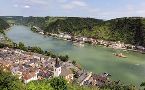 Picture mountains, the city, river, photo, home, Germany, Sankt Goar