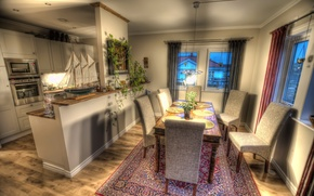 Picture design, photo, table, carpet, chairs, HDR, interior, kitchen