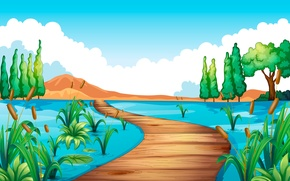 Picture bridge, river, reed