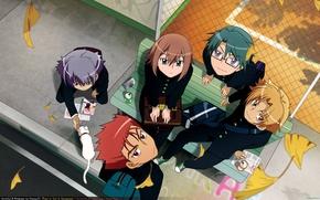 Picture cat, bench, up, glasses, guys, friends, school uniform, Baka to Test to Shoukanjuu, Hideyoshi Kinoshita, …