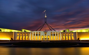 Picture night, lights, Australia, Parliament, Canberra
