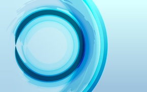 Picture abstraction, round, blue background