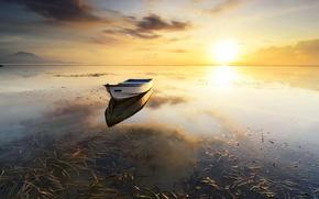 Picture landscape, sunset, lake, boat