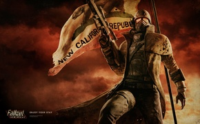 Picture flag, soldiers, armor, Fallout, rifle, New Vegas, NCR