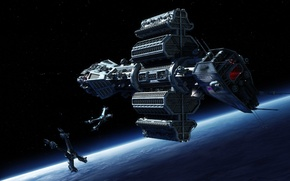 Picture fighter, space, Omega, cruiser, planet, spaceships, Starfury, Babylon 5