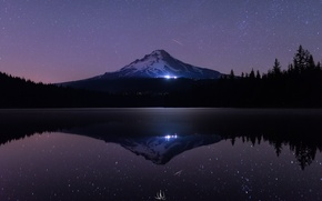Picture reflection, lights, snow, Oregon, sea, reflection, ate, water, night, photographer, mount, night, darkness, stars, forest, ...