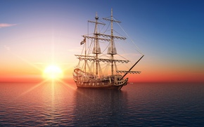 Picture sea, ship, photo, dawn, 3D graphics, sailboat, sunset