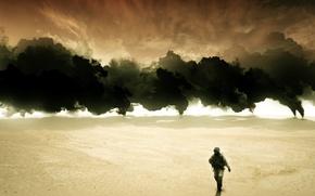 Picture war, Iraq, torches, oil