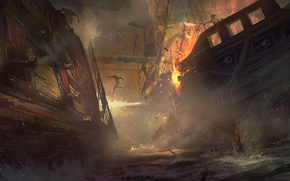 Picture sea, water, the explosion, fire, ships, gun, Board, abordage