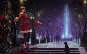 Picture cat, fun, ray, snow, art, winter, tree, girl, night, alley, lights