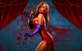 Wallpaper sexy, roger rabbit, jessica, red dress, boobs
