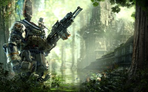 Picture Water, Robot, Building, Soldiers, Jungle, Hunter, Electronic Arts, Pilot, DLC, Titan, Equipment, Weapons, Titanfall, Respawn …