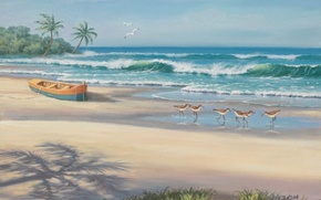 Picture sea, beach, boat, picture, painting, painting, Sung Kim