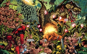 Wallpaper weapons, blood, dinosaur, explosions, war, jungle, gun, battle, marvel, comic, comics, deadpool, heroes, ninja